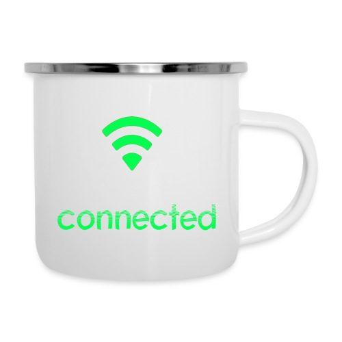 connected grün, Wifi - Emaille-Tasse