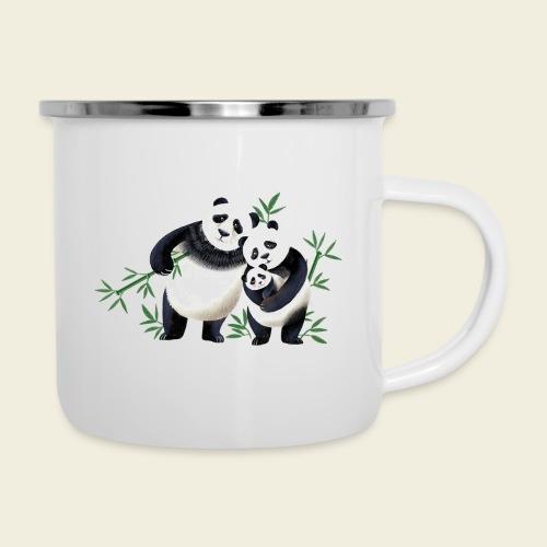Pandafamilie Baby - Emaille-Tasse