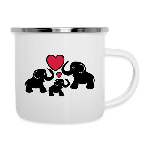 Zu dritt Elefanten Familie Mama Papa Baby Herz - Emaille-Tasse