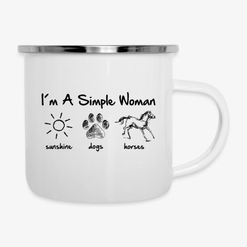 Vorschau: simple woman horse dog - Emaille-Tasse