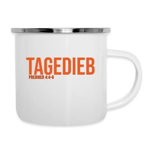 TAGEDIEB - Print in orange - Emaille-Tasse