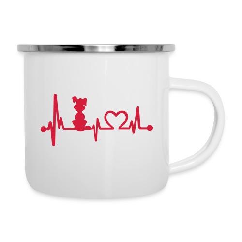 Vorschau: dog heart beat - Emaille-Tasse