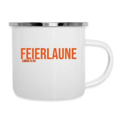 FEIERLAUNE - Print in orange - Emaille-Tasse