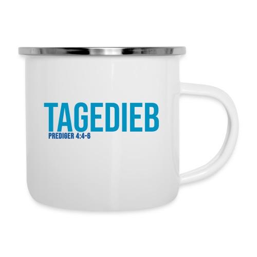 TAGEDIEB - Print in blau - Emaille-Tasse
