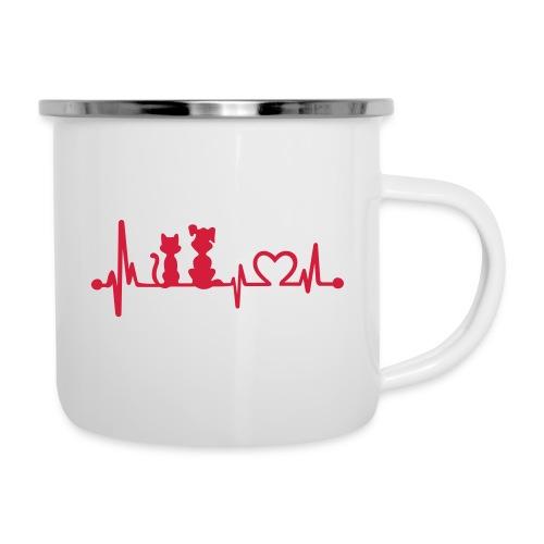 Vorschau: dog cat heartbeat - Emaille-Tasse