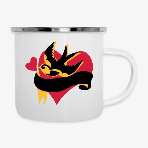 retro tattoo bird with heart - Camper Mug