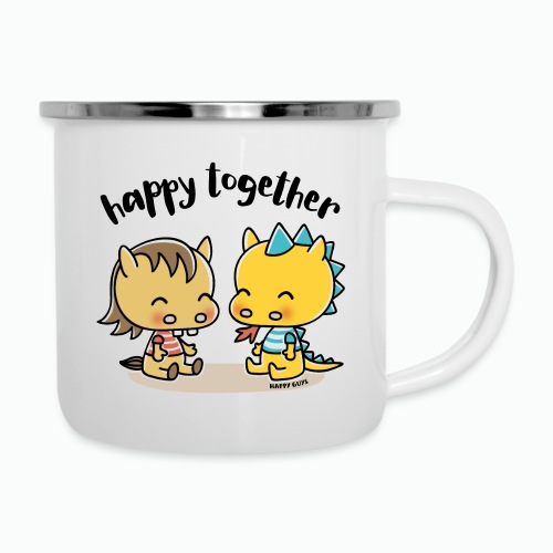 Happy Together - Pferd und Drache - Emaille-Tasse