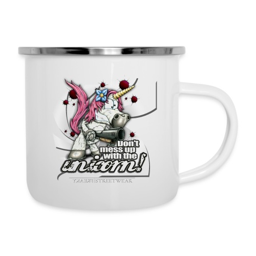 Don't mess up with the unicorn - Emaille-Tasse