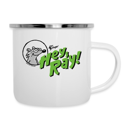 Hey Ray Logo green - Emaille-Tasse