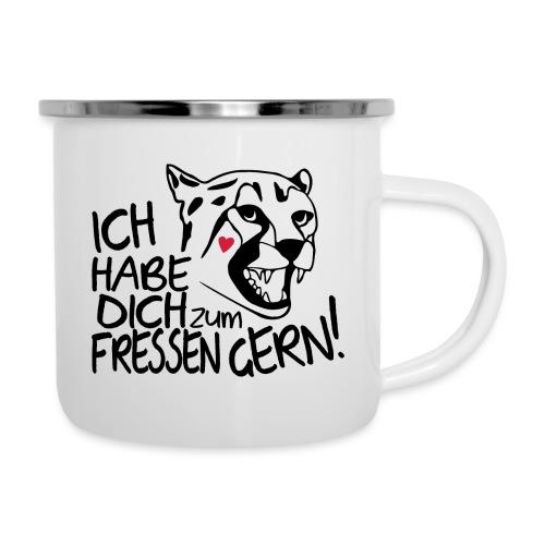 Zum Fressen Gern Haben Herz Liebe Partner Spruch - Emaille-Tasse