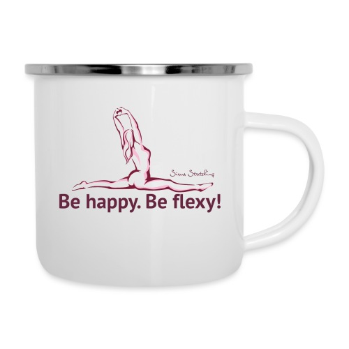 Be happy. Be flexy! - Emaille-Tasse