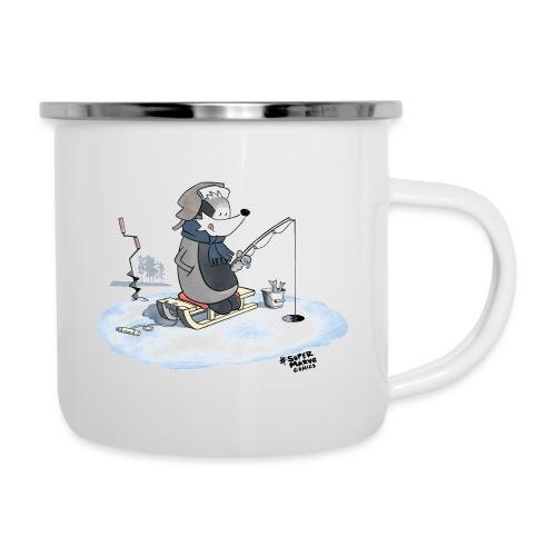 Ice Fishing Badger - Emaljekopp