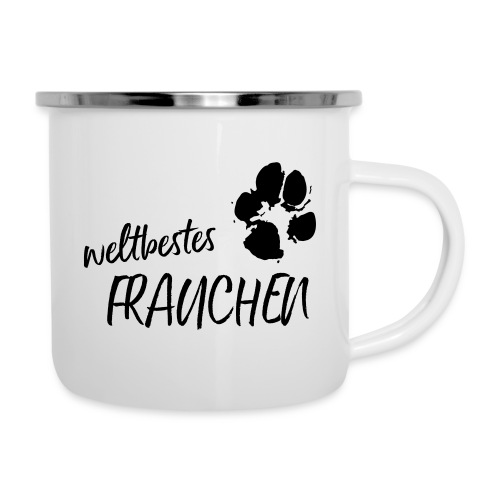 Vorschau: weltbestes Frauchen Pfote Hund - Emaille-Tasse