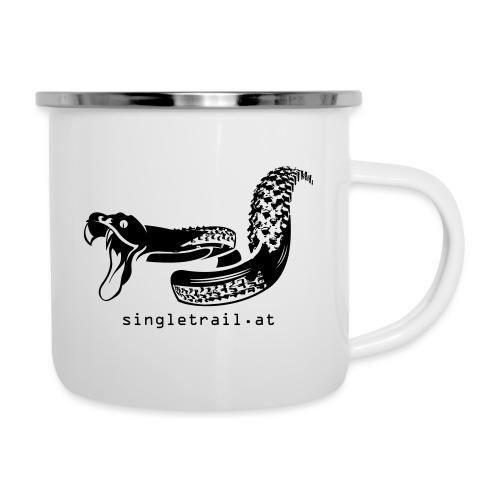 Die Singletrail Snake mit dezenter Web Adresse - Emaille-Tasse