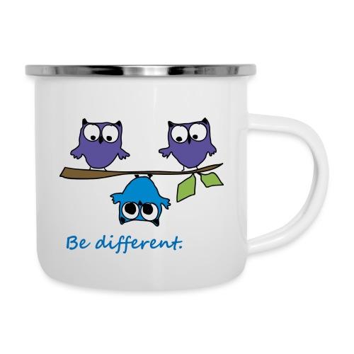 Vogel auf Ast - Be different - Emaille-Tasse