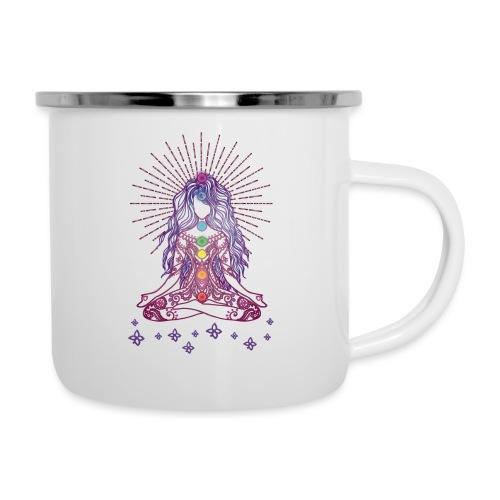 Boho Yoga Style Mädel Happy Mind Happy Life - Emaille-Tasse