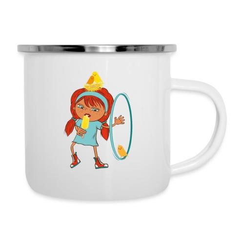 Happy Girl mit Eis, Vögeln und HulaHoop - Emaille-Tasse