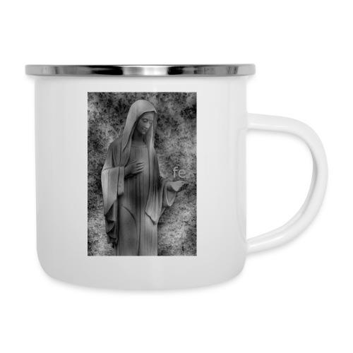 Jungfrau Maria, Medjugorje, schwarz weiß - Emaille-Tasse