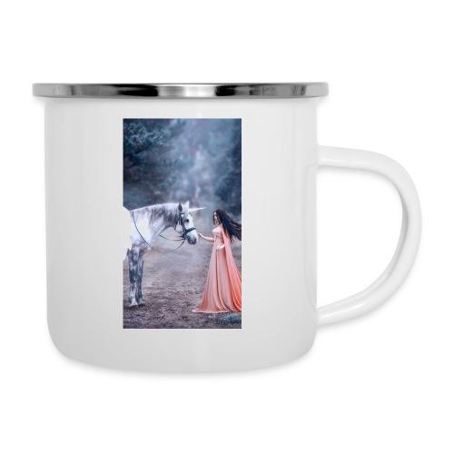 Unicornio con mujer bella - Taza esmaltada