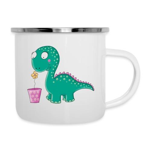 Kleiner Dinosaurier mit Blumentopf - Emaille-Tasse