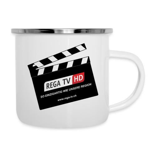 REGA-TV: Klappe - Emaille-Tasse