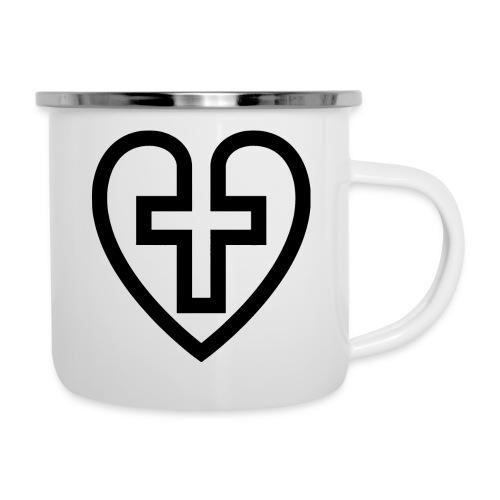 Symboliskt kristet kors i ett hjärta - Emaljmugg