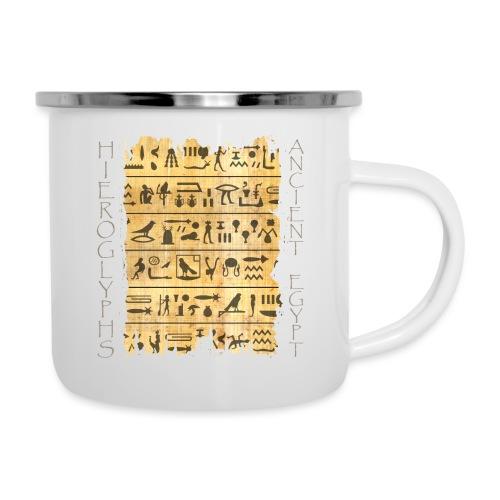 Ausgerissener Papyri mit Hieroglyphen - Emaille-Tasse