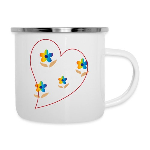 Blumen mit Herz in Regenbogenfarben - Emaille-Tasse