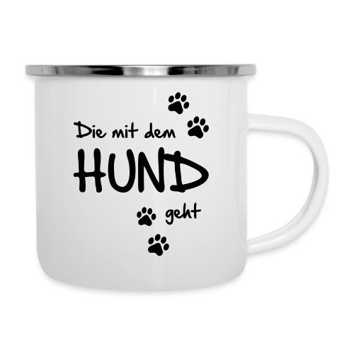 Vorschau: Die mit dem Hund geht - Emaille-Tasse