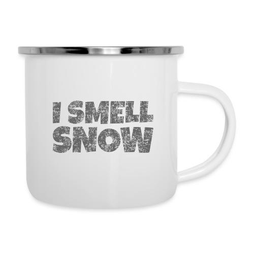 I Smell Snow (Dunkelgrau) Schnee, Wintersport, Ski - Emaille-Tasse