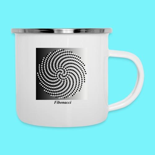 Fibonacci spiral pattern in black and white - Camper Mug