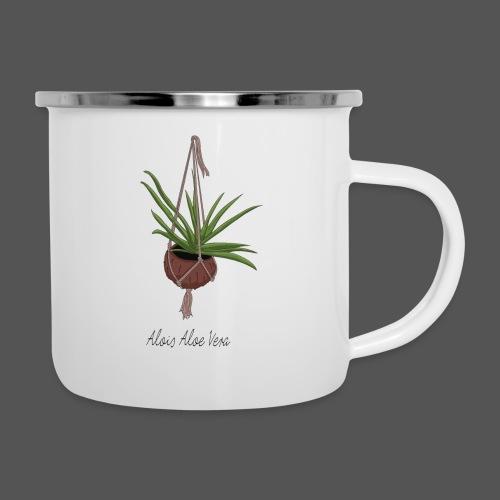 Alois Aloe Vera Pflanze in Kokosnussschale - Emaille-Tasse