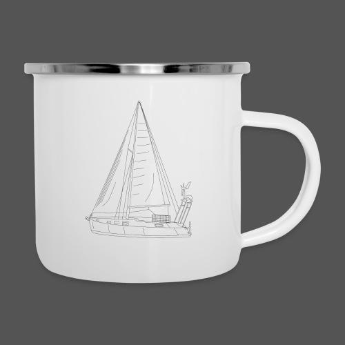 Zeichnung Segelboot Segel hoch - Emaille-Tasse