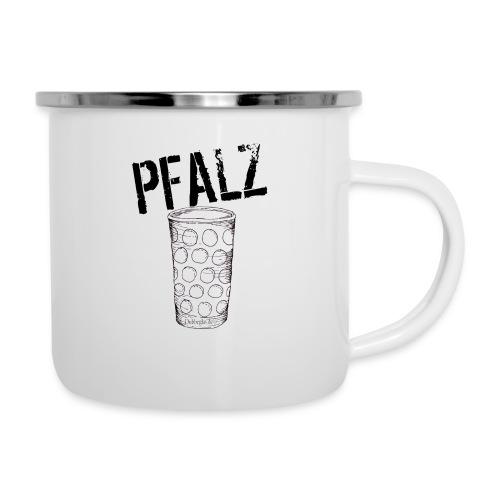 Pfalzshirt mit Dubbeglas, weiß - Emaille-Tasse