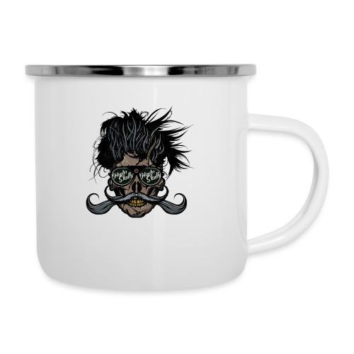 hipster skull tete de mort crane barbu moustache - Tasse émaillée