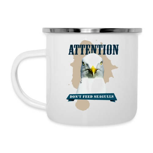 ATTENTION - don't feed seagulls - Emaille-Tasse