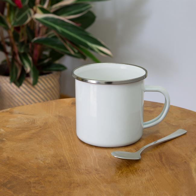 Vorschau: Nua so vü wia mit olla Gwoit einigeht - Emaille-Tasse
