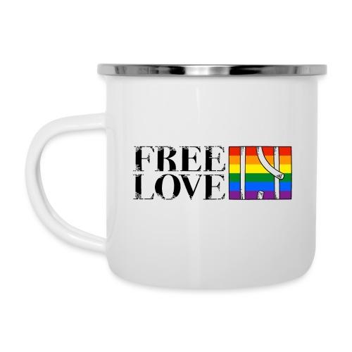 Free Love Rainbow Flag Freie Liebe - Emaille-Tasse