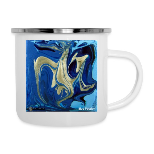 TIAN GREEN Welt Mosaik - AT042 Blue Passion - Emaille-Tasse