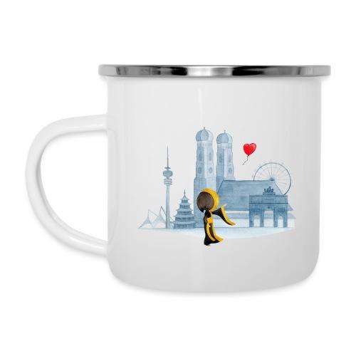 Skyline München mit Münchner Kindl und Herz - Emaille-Tasse