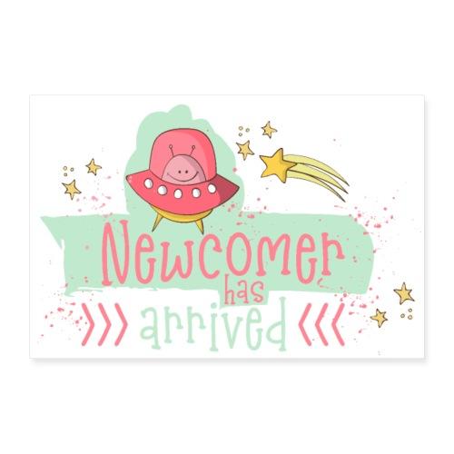 Newcomer: Baby ist geboren - Süßes Mädchen Design - Poster 90x60 cm