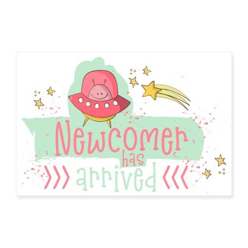 Newcomer: Baby ist geboren - Süßes Mädchen Design - Poster 36 x 24 (90x60 cm)