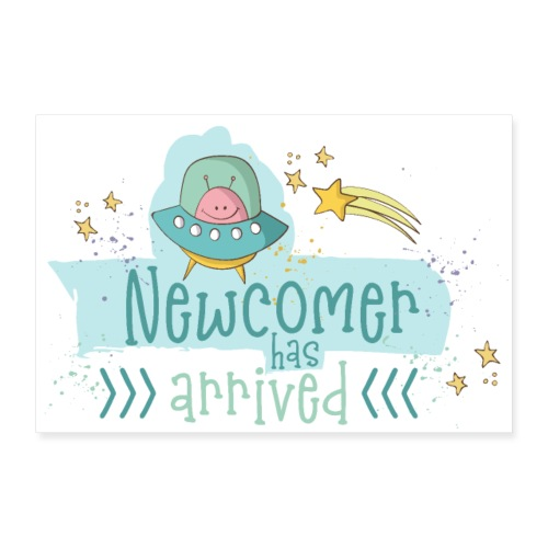 Baby Birth: Newcomer - A boy is born - Poster 36 x 24 (90x60 cm)