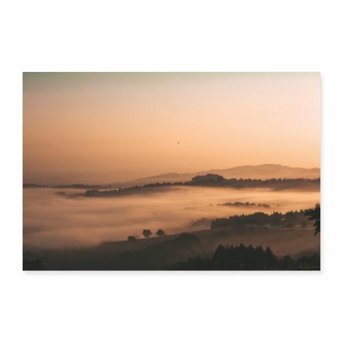Nebellandschaft beo Sonnenaufgang - Poster 90x60 cm