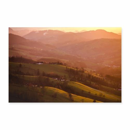 Sonnenuntergang in St. Leonhard - Poster 90x60 cm