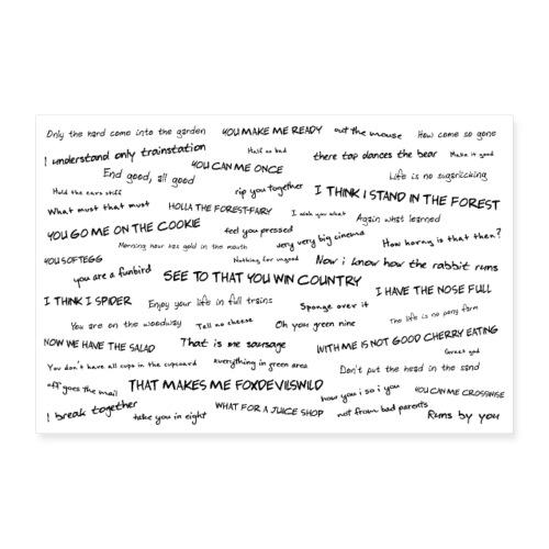 Lustige Sprichwörter auf Englisch übersetzt - Poster 90x60 cm