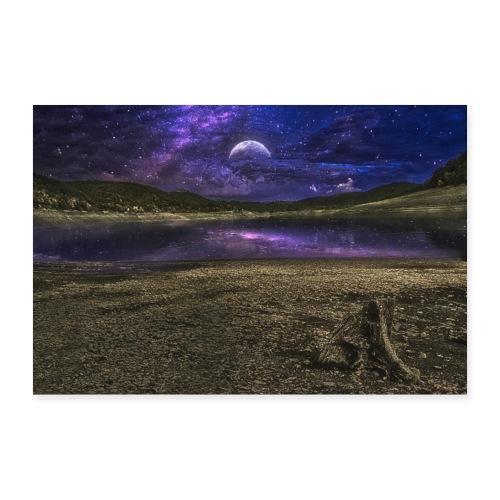 Night moon stars light water amazing - Poster 90x60 cm