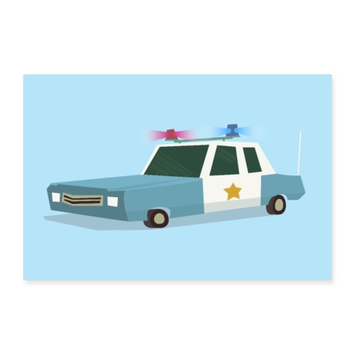 Funky Police Car Poster - Poster 36 x 24 (90x60 cm)
