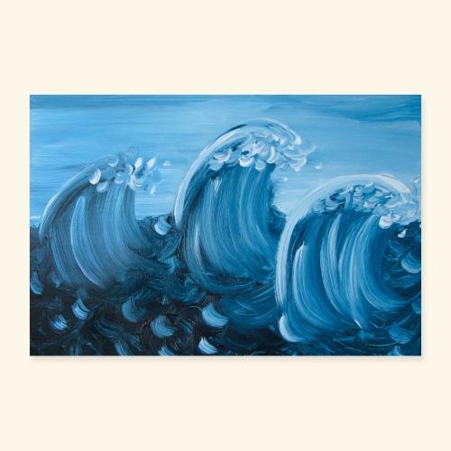 3 Wellen querformat - Poster 90x60 cm
