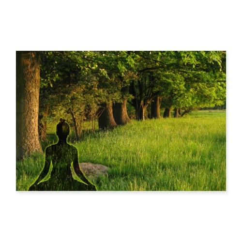 Yogi meditiert am Wald-Relax Ort der Meditation - Poster 90x60 cm